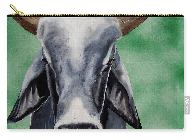 Bull Carry-all Pouch featuring the painting Brahma Bull by Debbie LaFrance