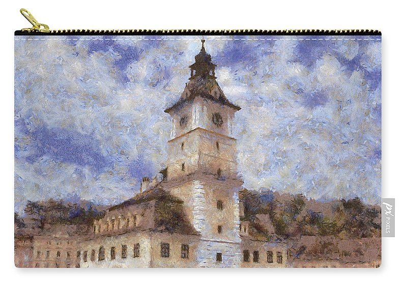 Architecture Carry-all Pouch featuring the painting Brasov City Hall by Jeffrey Kolker