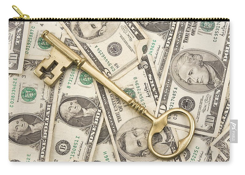 American Currency Carry-all Pouch featuring the photograph Brass Key To Success Money by Keith Webber Jr