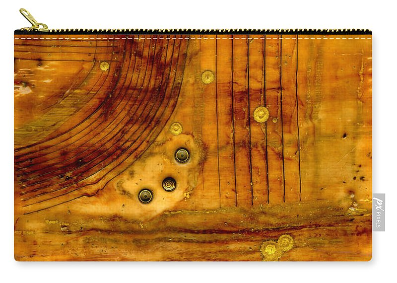 Wood Carry-all Pouch featuring the mixed media Brass Tokens by Angela L Walker
