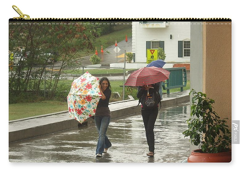 Carry-all Pouch featuring the photograph Braving The Rain by Katerina Naumenko