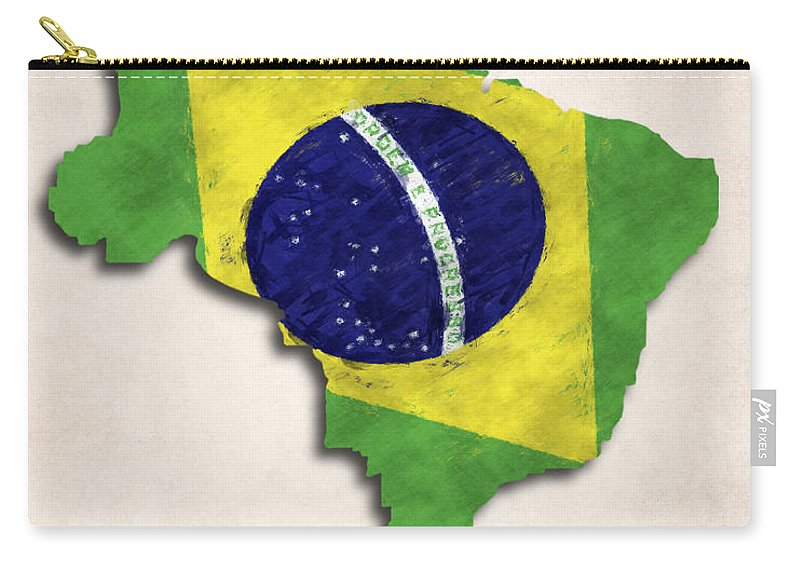 Brazil Carry-all Pouch featuring the digital art Brazil Map Art With Flag Design by World Art Prints And Designs