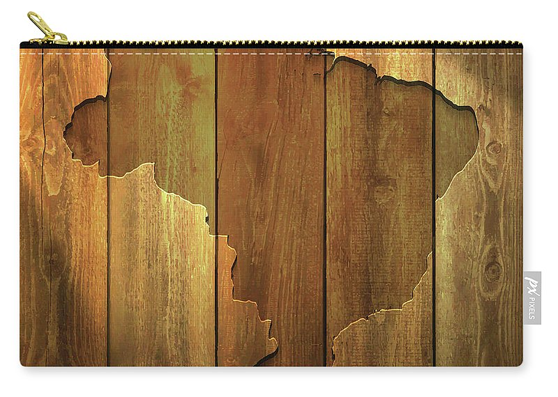 Material Carry-all Pouch featuring the digital art Brazil Map On Lit Wooden Background by Bgblue