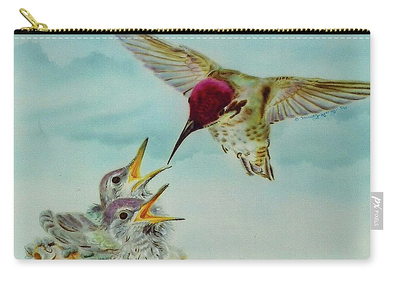 Hummingbirds Carry-all Pouch featuring the painting Breakfast by Thomas J Herring