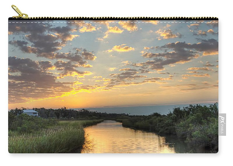 Bayou Carry-all Pouch featuring the photograph Breaking Dawn Along The Bayou by Joan McCool