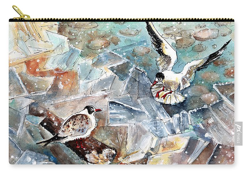 Travel Carry-all Pouch featuring the painting Breaking The Ice On Lake Constance by Miki De Goodaboom