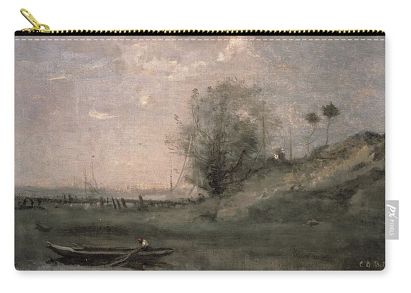 Landscape Carry-all Pouch featuring the painting Breakwater, Normandy by Jean Baptiste Camille Corot