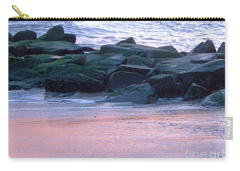 Breakwater Carry-all Pouch featuring the photograph Breakwater Rocks At Sunset Beach Cape May by Eric Schiabor