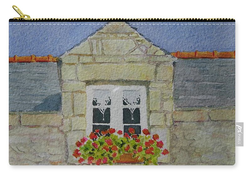 France Carry-all Pouch featuring the painting Bretagne Window by Mary Ellen Mueller Legault