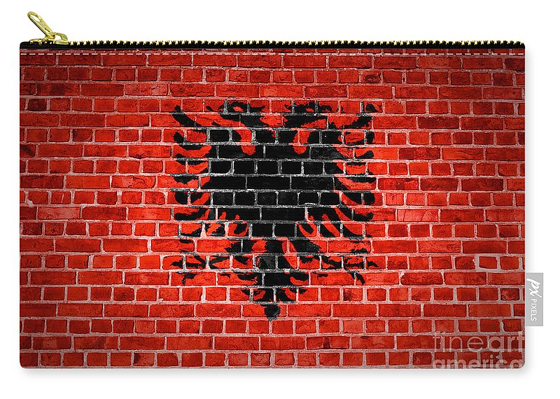 Albania Carry-all Pouch featuring the digital art Brick Wall Albania by Antony McAulay