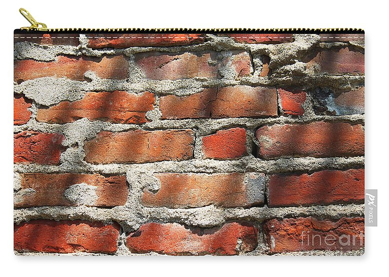 Wall Carry-all Pouch featuring the photograph Brick Wall Shadows by Henrik Lehnerer