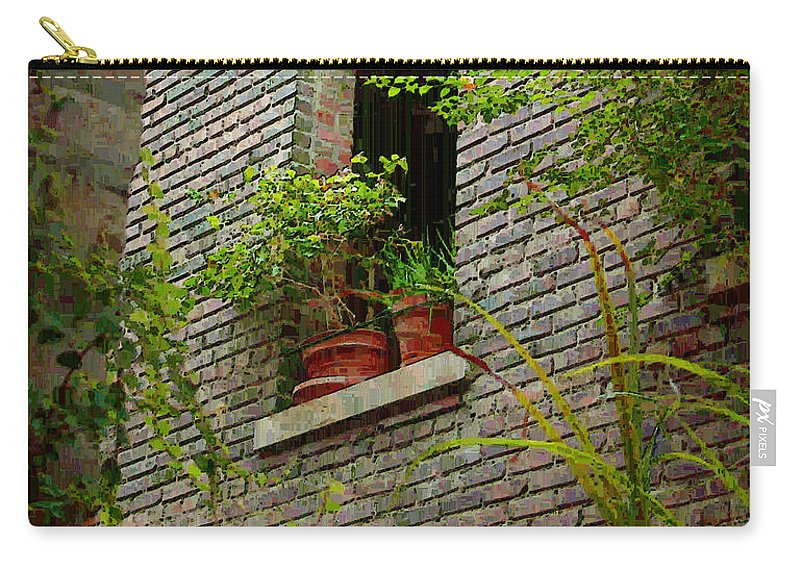 Window Carry-all Pouch featuring the painting Brick With Greenery by RC DeWinter