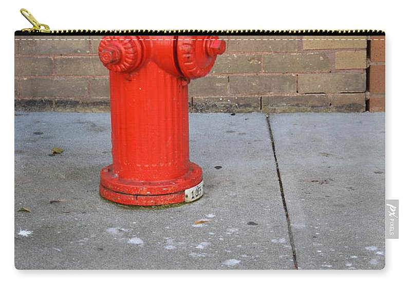 Fire Hydrant Carry-all Pouch featuring the photograph Bricks And Fire by The Artist Project