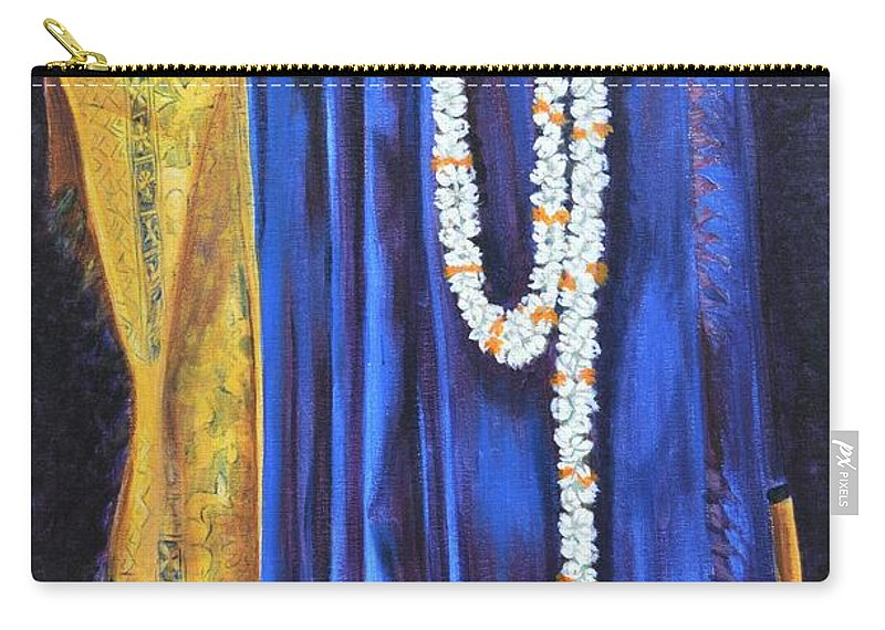 Bridal Carry-all Pouch featuring the painting Bridal Wear by Usha Shantharam