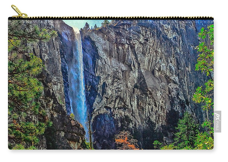 Bridalveil Falls In Yosemite Valley Carry-all Pouch featuring the photograph Bridalveil Falls In Yosemite Valley by Bob and Nadine Johnston