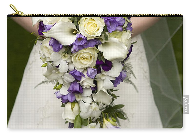 Bouquet Carry-all Pouch featuring the photograph Bride And Wedding Bouquet by Lee Avison
