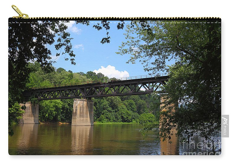 Potomac River Carry-all Pouch featuring the photograph Bridge Crossing The Potomac River by James Brunker