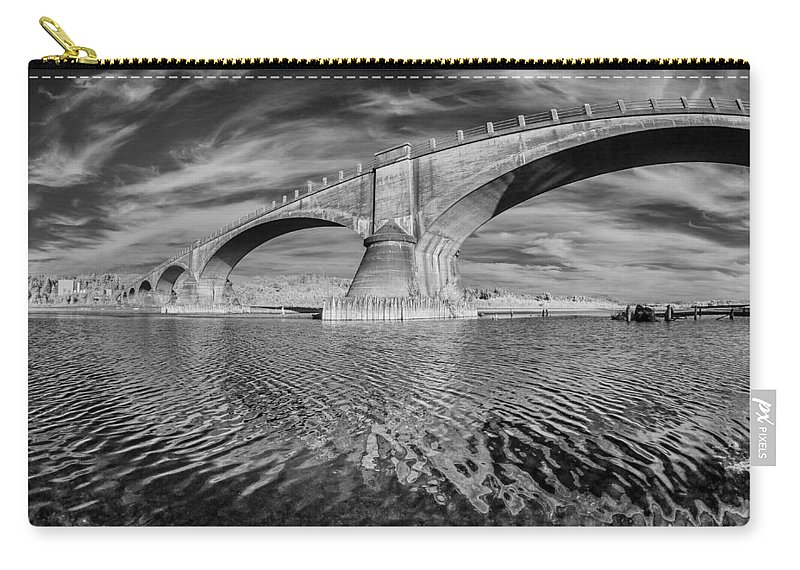 Infrared Carry-all Pouch featuring the photograph Bridge Curvature In Black And White by Greg Nyquist