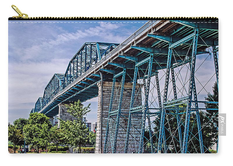 Bridge Carry-all Pouch featuring the photograph Bridge From The Park by Mike Allison