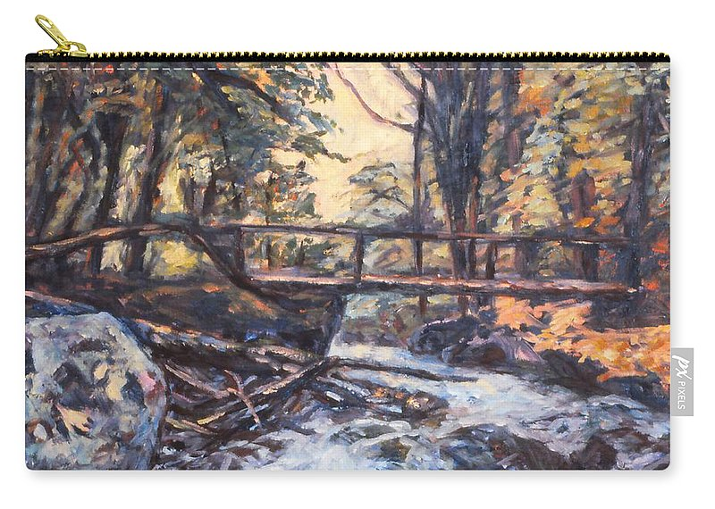 Creek Carry-all Pouch featuring the painting Morning Bridge In Woods by Kendall Kessler