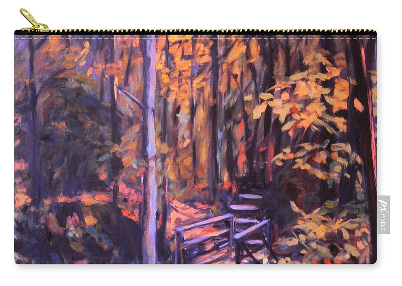 Woods Carry-all Pouch featuring the painting Bridge In Woods Near Pandapas by Kendall Kessler