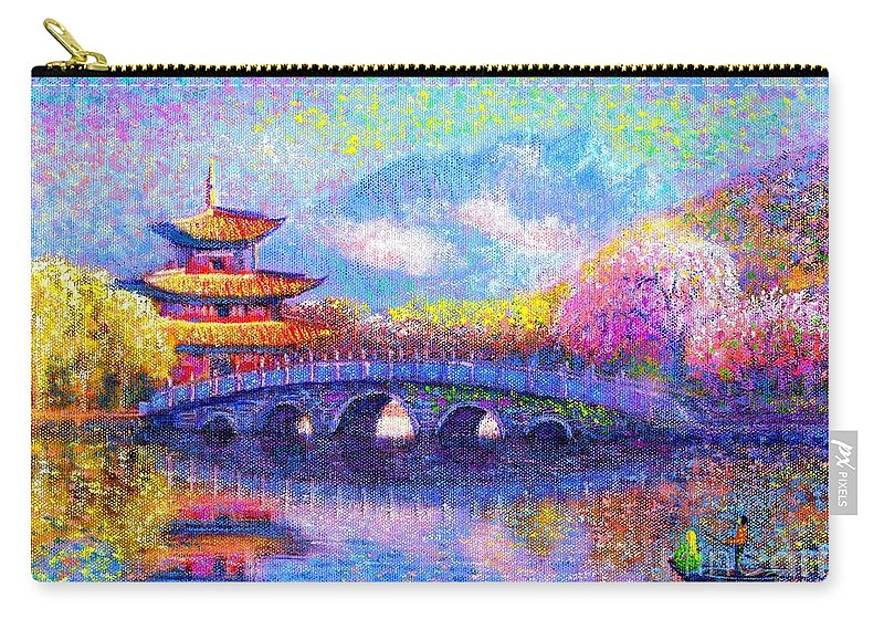 Blossom Carry-all Pouch featuring the painting Bridge Of Dreams by Jane Small