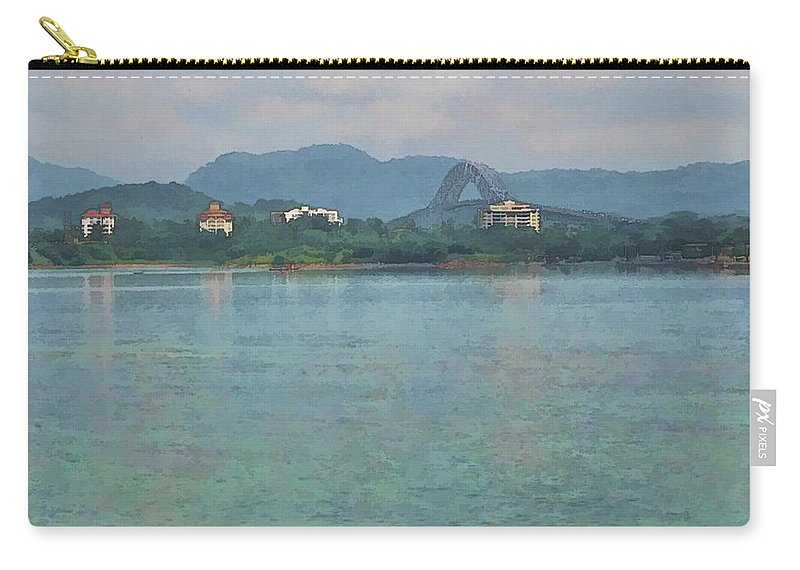 Julia Springer Carry-all Pouch featuring the photograph Bridge Of The Americas From Casco Viejo - Panama by Julia Springer