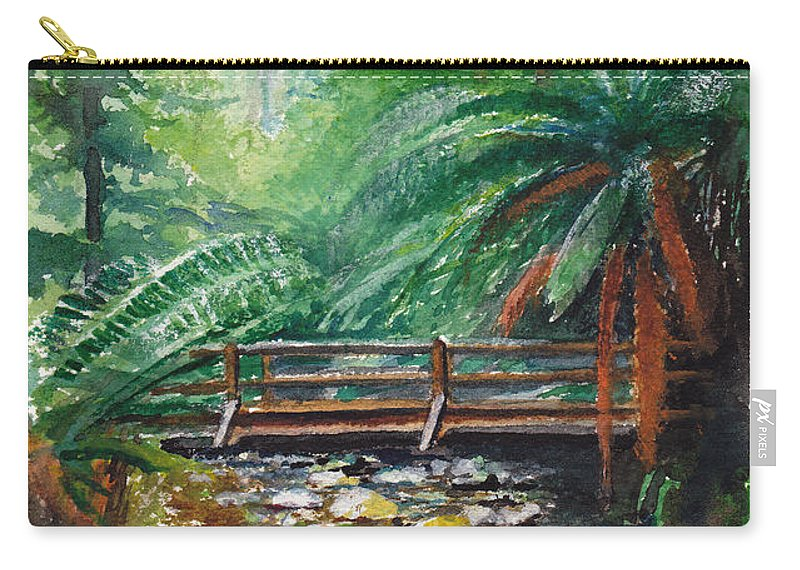 Rainforest Carry-all Pouch featuring the painting Bridge Over Badger Creek by Dai Wynn