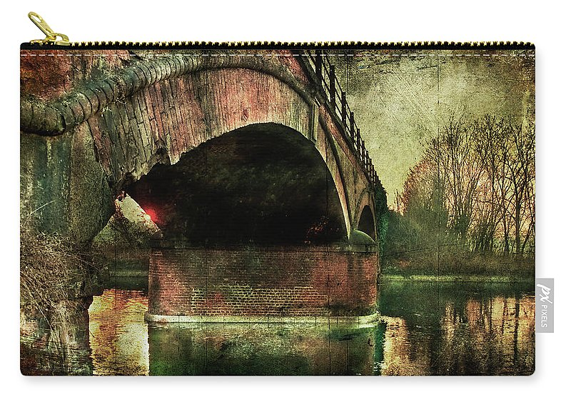 Albairate Carry-all Pouch featuring the photograph Bridge Over The Canal by Roberto Pagani