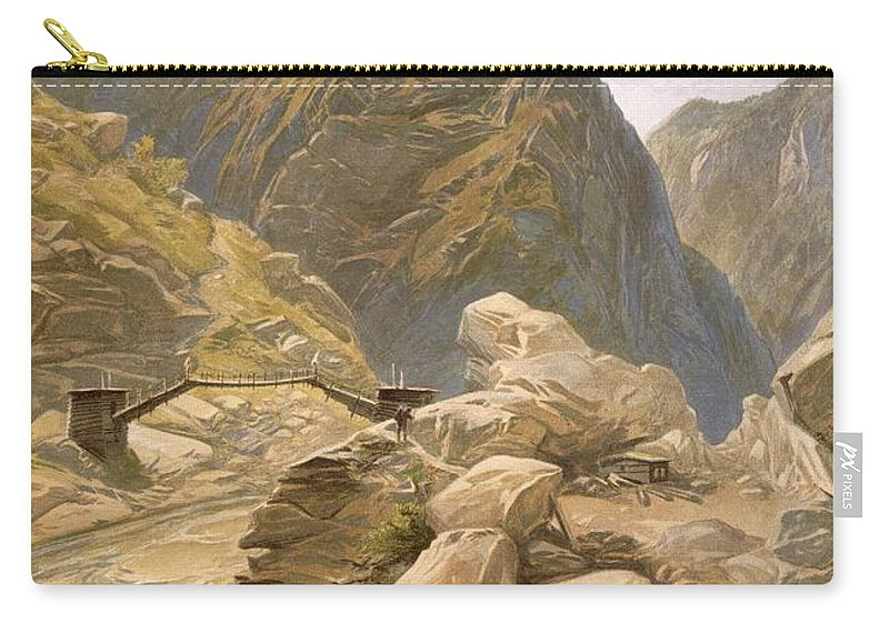 Indian Carry-all Pouch featuring the drawing Bridge Over The Sutlej At Wangtoo by William 'Crimea' Simpson
