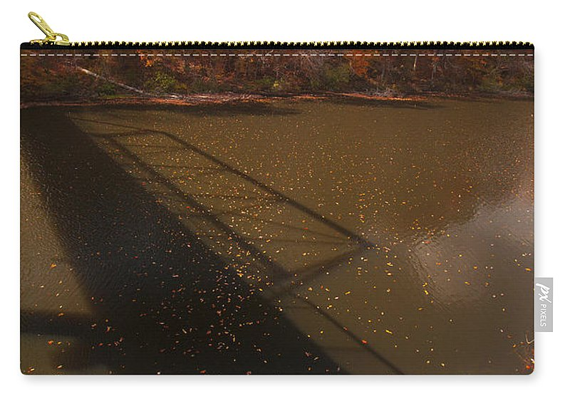 Bridge Photographs Carry-all Pouch featuring the photograph Bridge Shadow In Autumn On The Duck River Tennessee Fine Art Prints As Gift For The Holidays by Jerry Cowart