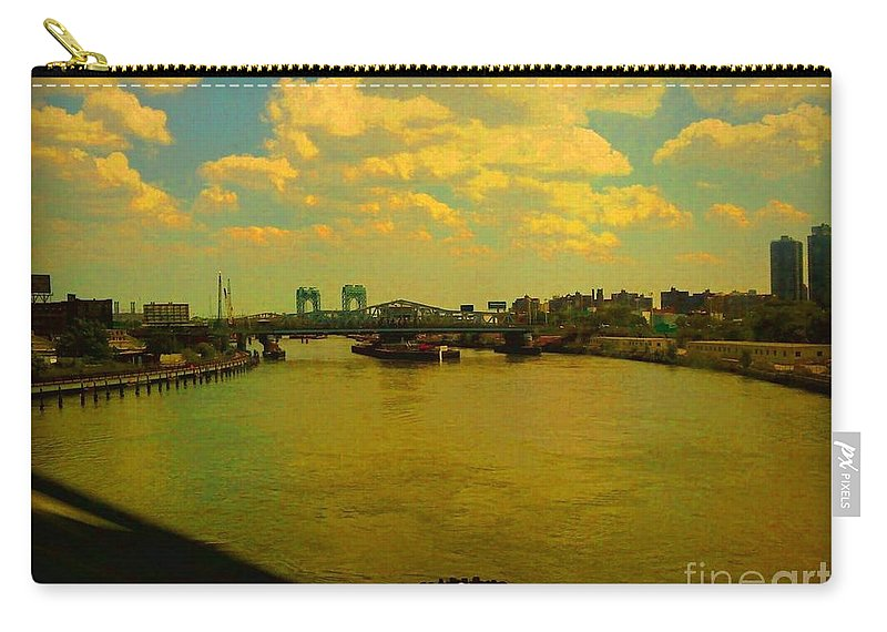 New York Carry-all Pouch featuring the photograph Bridge With Puffy Clouds by Miriam Danar