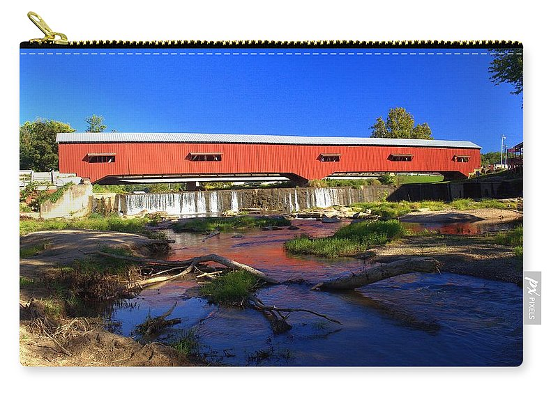 Landscape Carry-all Pouch featuring the photograph Bridgeton Covered Bridge 1 by Marty Koch