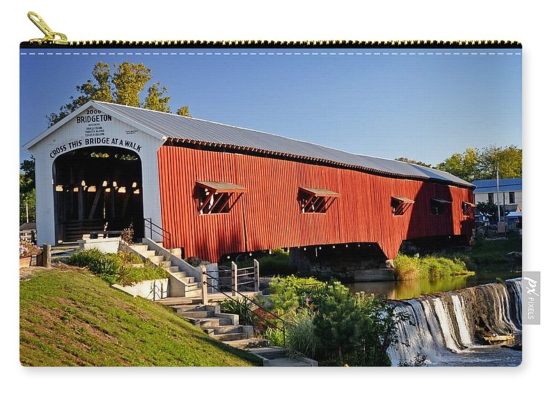 Landscape Carry-all Pouch featuring the photograph Bridgeton Covered Bridge 3 by Marty Koch