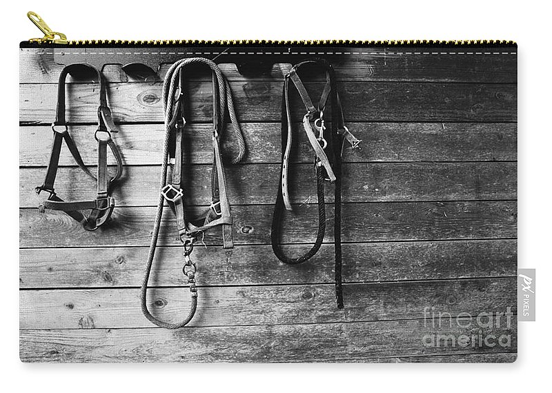 Bridles Carry-all Pouch featuring the photograph Bridles Bw by Mike Nellums