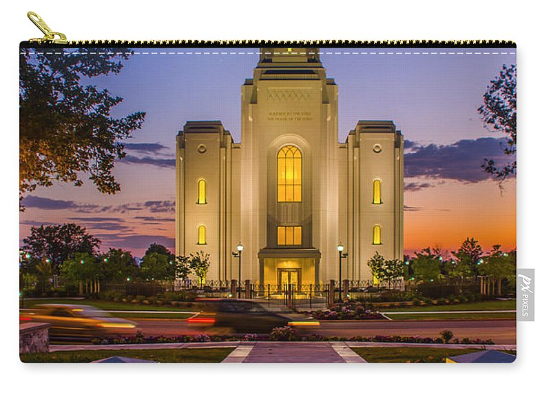 Brigham City Temple Carry-all Pouch featuring the photograph Brigham City Temple Moon N Stars by La Rae Roberts