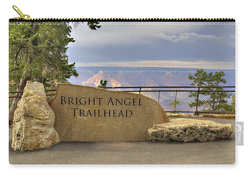 Bright Carry-all Pouch featuring the photograph Bright Angel Trailhead by Ricky Barnard