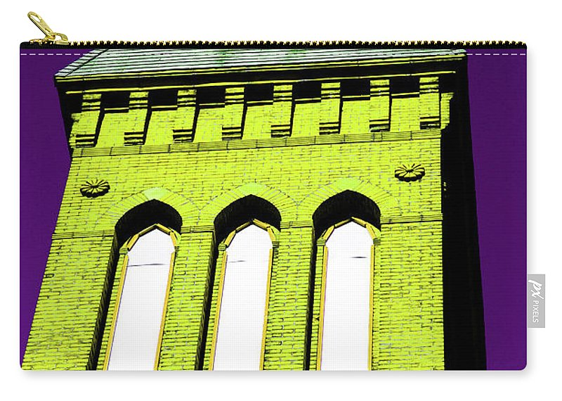 Church Carry-all Pouch featuring the photograph Bright Cross Tower by Karol Livote