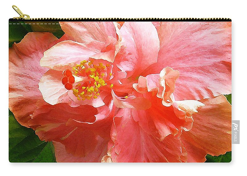 Hibiscus Carry-all Pouch featuring the digital art Bright Pink Hibiscus by James Temple