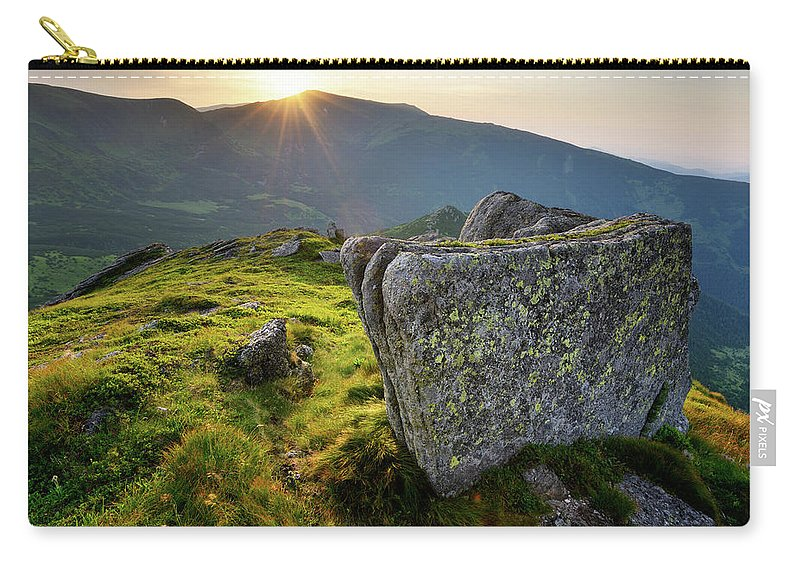Scenics Carry-all Pouch featuring the photograph Bright Sunset Landscape In Mountains by Rezus