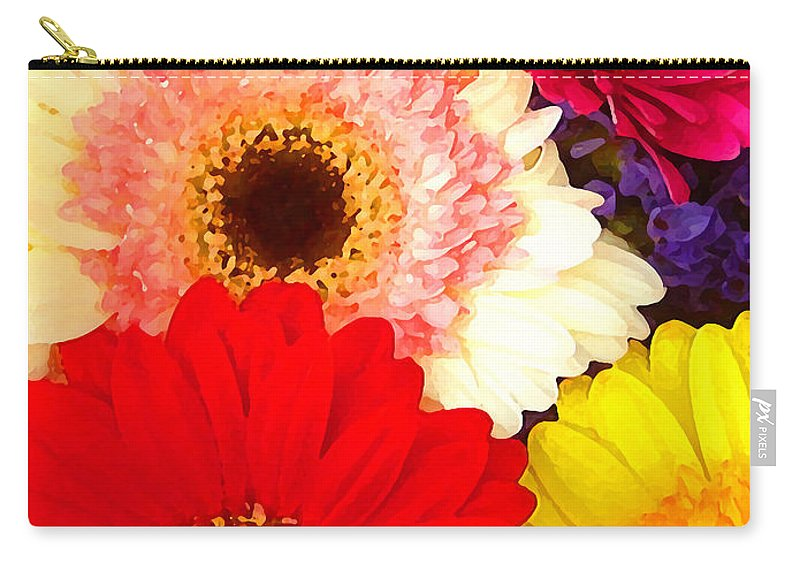 Daisies Carry-all Pouch featuring the painting Brightly Colored Gerbers by Amy Vangsgard