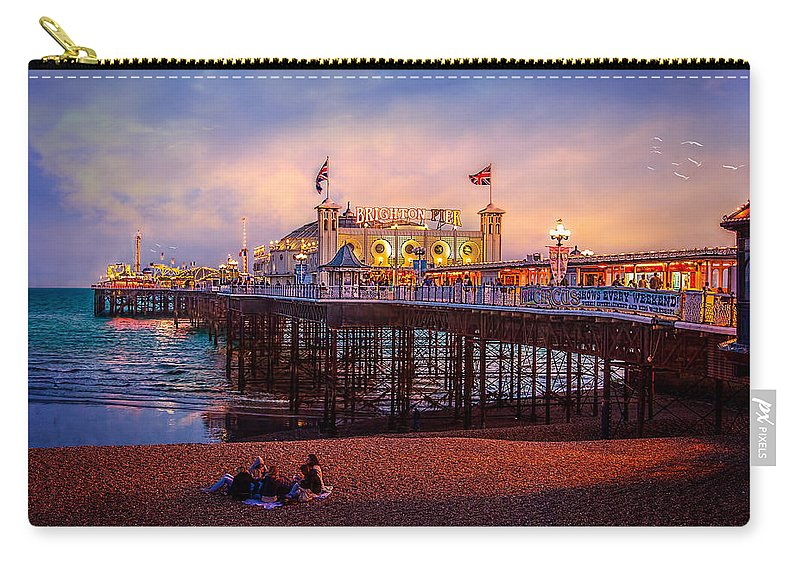 Pier Carry-all Pouch featuring the photograph Brighton's Palace Pier At Dusk by Chris Lord