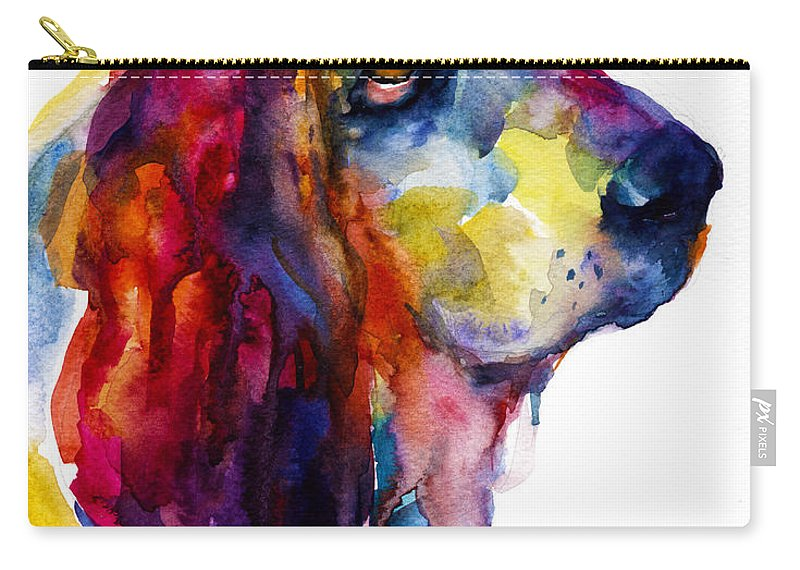 Basset Hound Dog Art Carry-all Pouch featuring the painting Brilliant Basset Hound Watercolor Painting by Svetlana Novikova
