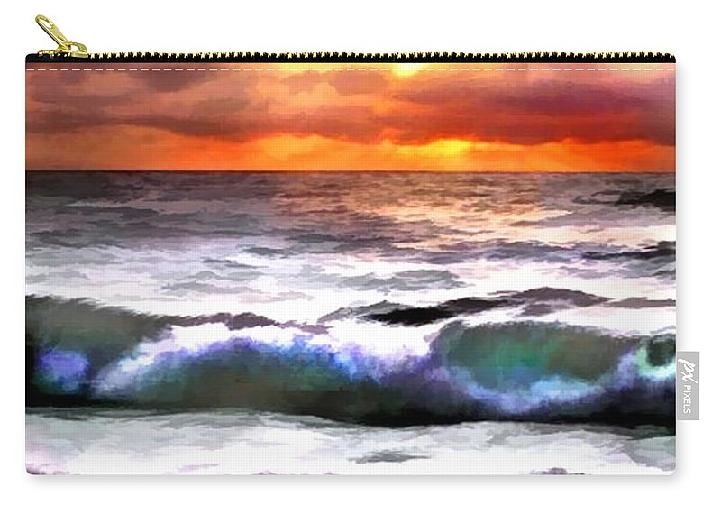 Ocean Carry-all Pouch featuring the painting Brilliant Nags Head Sunrise by Elaine Plesser