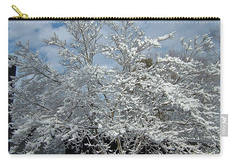 Brilliant Carry-all Pouch featuring the photograph Brilliant Snow Coated Tree by Susan Wyman