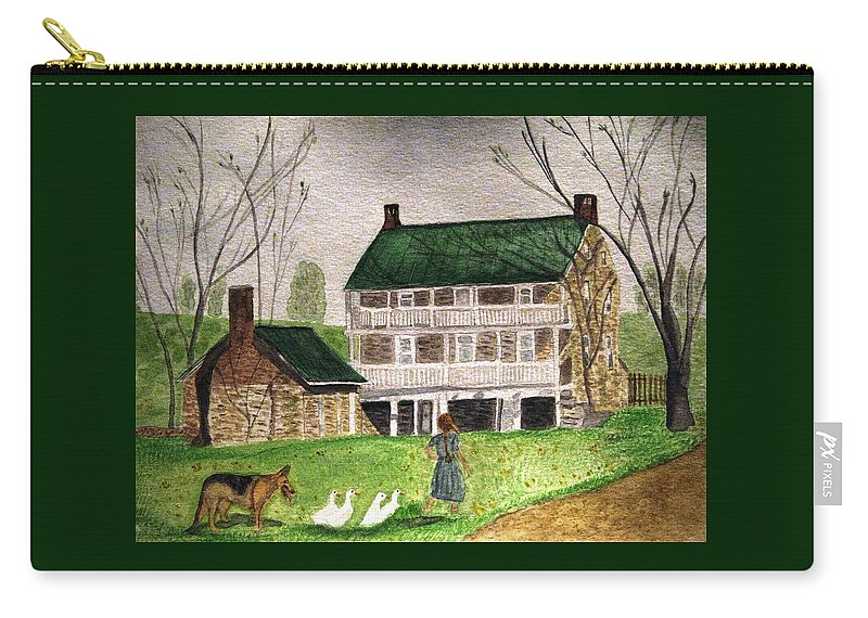 Farms Carry-all Pouch featuring the painting Bringing Home The Ducks by Angela Davies