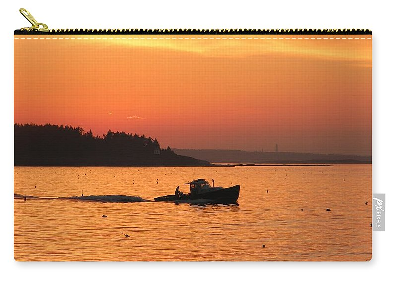 Sunset Carry-all Pouch featuring the photograph Bringing In The Lobster Pots by Jean Goodwin Brooks