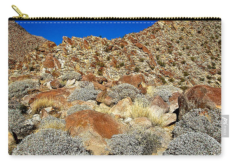 Brittlebush Leaves And Santa Rosa Mountains From Borrego Palm Canyon Trail In Anza-borrego Desert State Park Carry-all Pouch featuring the photograph Brittlebush Leaves And Santa Rosa Mountains From Borrego Palm Canyon In Anza-borrego Desert Sp-ca by Ruth Hager
