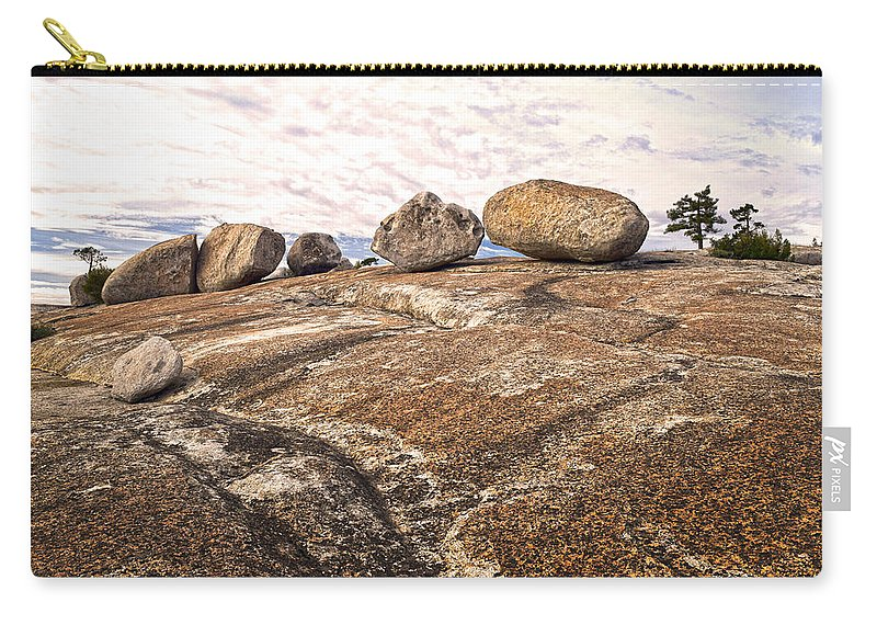 Bald Rock Dome Carry-all Pouch featuring the photograph Broken Glacial Erratics by Frank Wilson