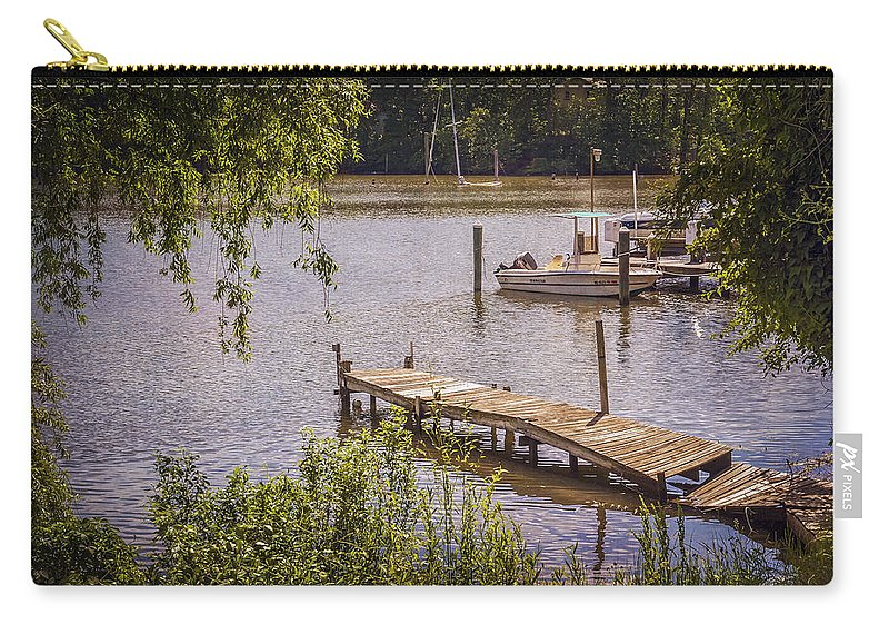 2d Carry-all Pouch featuring the photograph Broken Pier And Sunken Boat by Brian Wallace